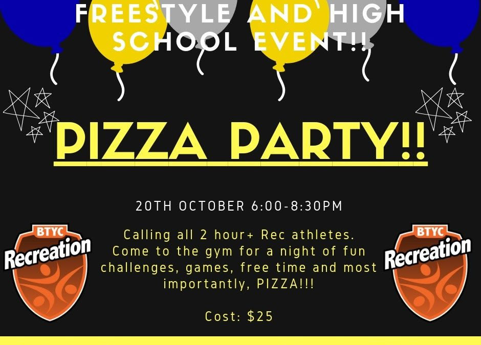 Pizza party -Saturday 20th October