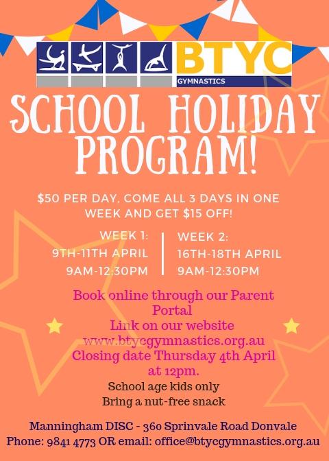 April School Holiday Program. Book Now!