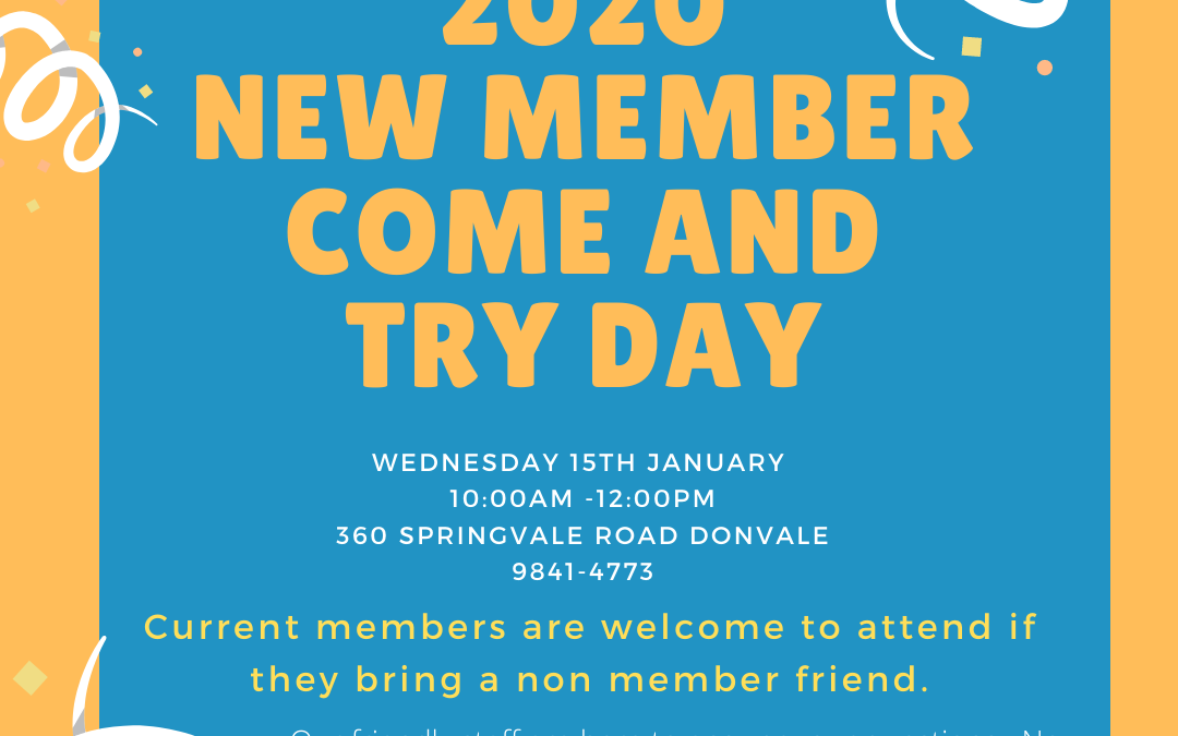 2020 New Member Come and Try Day -No bookings required.