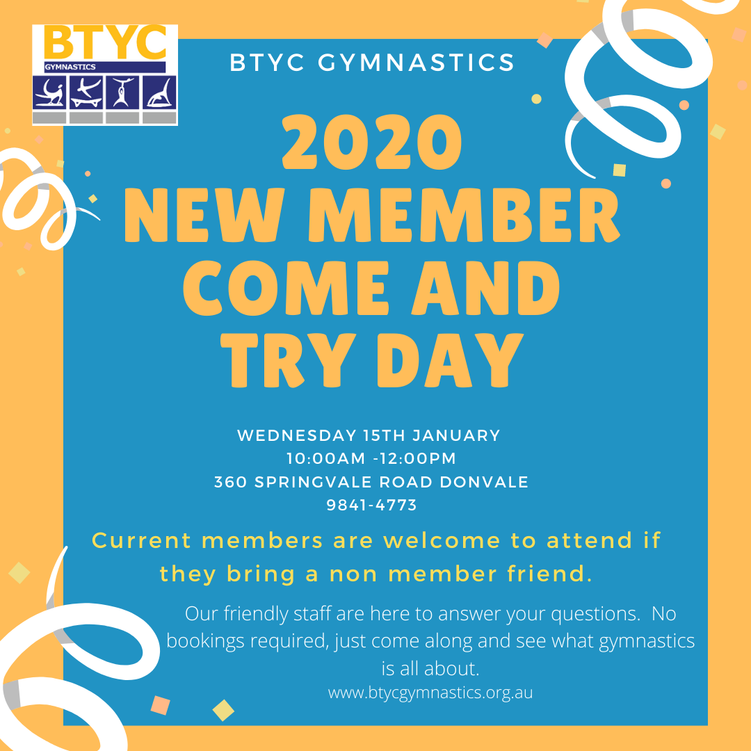 2020 New Member Come And Try Day - No bookings required. @ BTYC Gymnastics | Donvale | Victoria | Australia